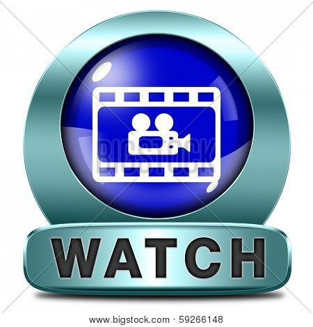 watch Video play videos clip or watching movie online or in live stream, multimedia button banner or icon