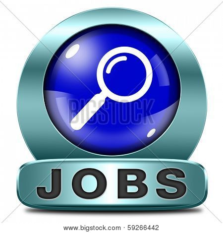 search jobs job ads finding job and employment getting hired when help is wanted recruitment blue icon or button