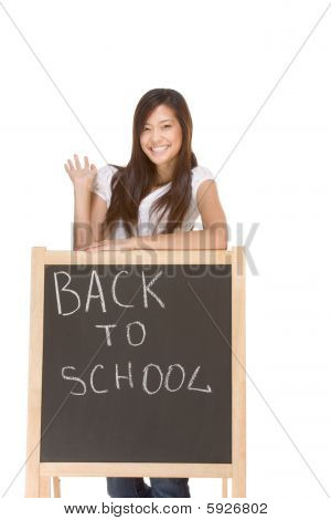 Asian Student By Back To School Chalk Board