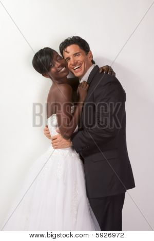Happy Wed Interracial Couple In Wedding Mood