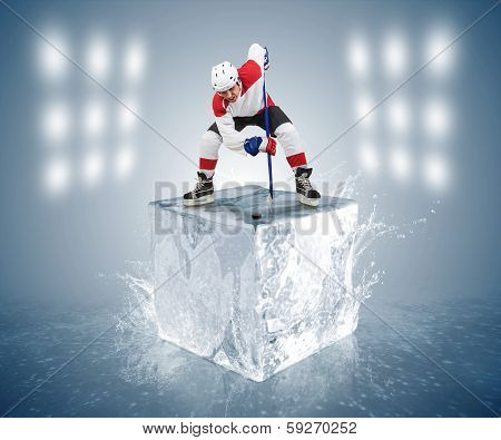 Conceptual Hockey game picture. Face-off player on the ice cube