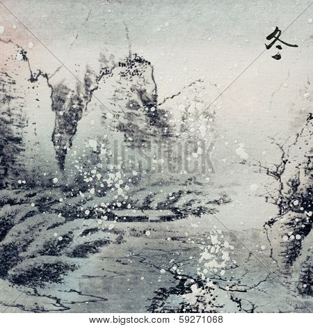 Chinese traditional ink painting, landscape of season, winter.