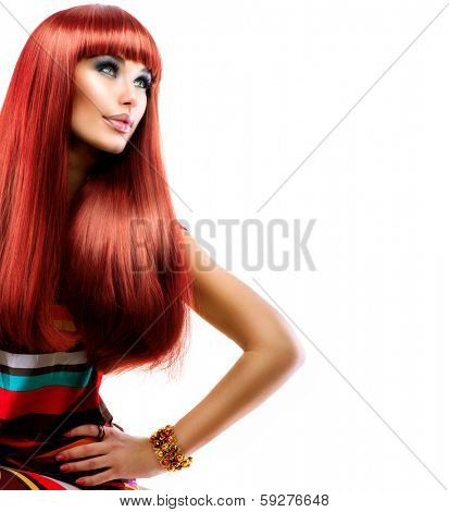Hair. Healthy Straight Long Red Hair. Fashion Beauty Model Girl isolated on white Background. Vogue Style. Beauty Makeup. Smoky eyes. Beautiful Glamour Woman Portrait