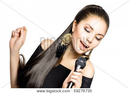 Singing Woman. Beautiful Singing Girl. Beauty Woman with Microphone over White Background. Singer. Karaoke song.