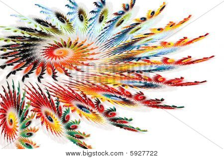 Colorful Spiral Fractals Resembling Feathers