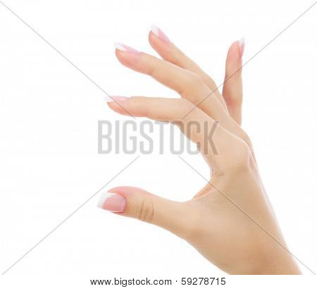 Female hand against an abstract background