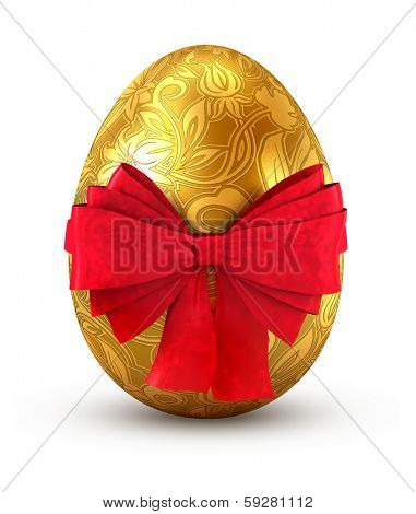 Gold egg with red bow isolated on white background.