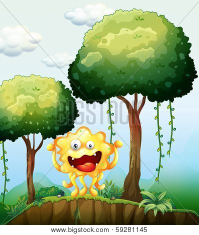 Illustration of a smiling monster at the forest near the cliff