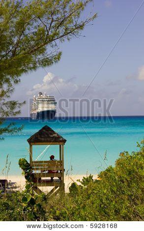 Cruise Ship And Lifeguard