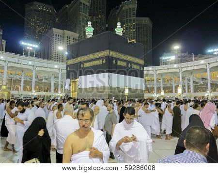 MECCA, SAUDI ARABIA - OCTOBER 13: Muslim pilgrims, from all around the World, revolving around the Kaaba on October 13, 2013 in Mecca, Saudi Arabia.