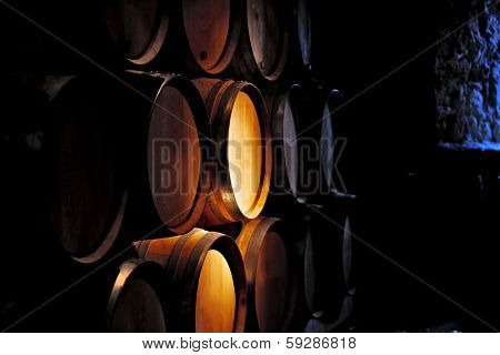 Barrel of wine in old winery.