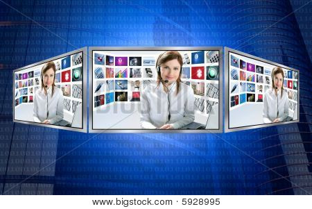 Beautiful News Tv Redhead Woman On 3D Display