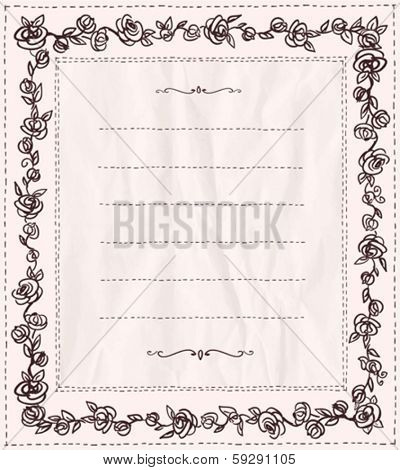 Handdrawn doodle frame with roses and place for text. Eps10