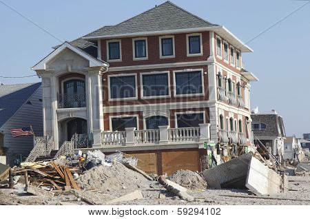 Destroyed beach house in the aftermath of Hurricane Sandy in Far Rockaway, NY