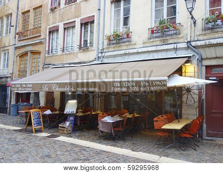 Traditional bouchon restaurant in Vieux Lyon, France