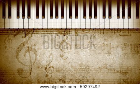 Conceptual image with piano keys and music clef