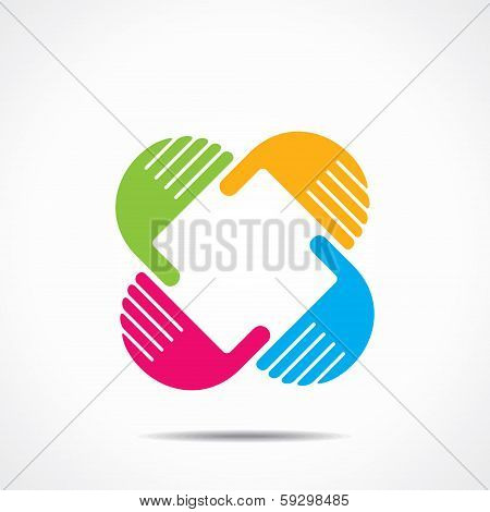 creative hand icon, arrange hand and make square shape