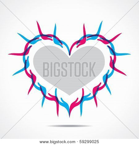 heart shape design with hand  concept