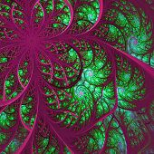 Beautiful Fractal Flower In Green And Vinous. Computer Generated Graphics.