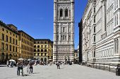 FLORENCE, ITALY - APRIL 14: Giottos Campanile and Basilica di Santa Maria del Fiore on April 14, 201