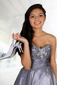 foto of quinceanera  - Teenage girl set against a white background - JPG