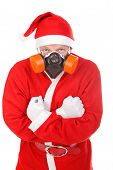 stock photo of breather  - santa claus in gas mask - JPG