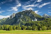 stock photo of bavarian alps  - Neuschwanstein Castle in the Bavarian Alps of Germany - JPG