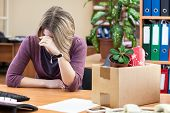 Upset With Dismissal Woman Crying In The Workplace