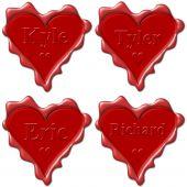 Постер, плакат: Валентина Любовь сердца с именами: Кайл Тайлер Эрик Ричард