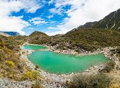 Green lake under the Mount Cook, Aoraki National Park, New Zealand. Panorama