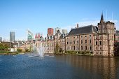 stock photo of prime-minister  - Famous parliament and court building complex Binnenhof in Hague - JPG