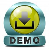 Demo download button or icon for free trial demonstration
