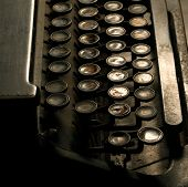 picture of qwerty  - Close up of vintage old typewriter keys - JPG