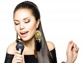 stock photo of microphone  - Singing Woman - JPG