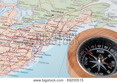 Travel Destination New York United States, Map With Compass