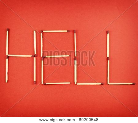 Word Hell Made Of Matchsticks