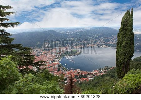 View of Como city on the bank of Como lake in Italy