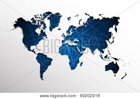 World map-Abstract blue straight lines background