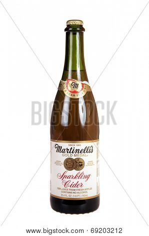 Hayward, CA - July 27, 2014: 750ml bottle of Martinelli's Gold Medal  non-alcoholic Sparkling cider