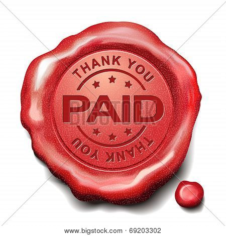 Thank You Paid Red Wax Seal