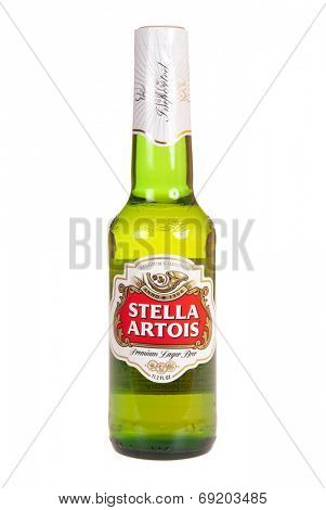 Hayward, CA - July 27, 2014: Bottle of Stella Artois premium lager beer, Belgium's original