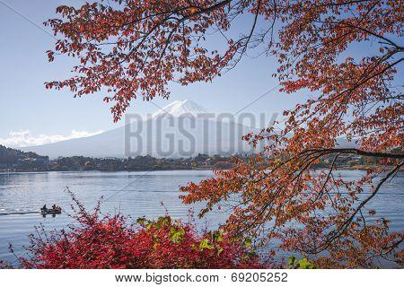 Mt. Fuji, Japan at Lake Kawaguchi during the autumn season.
