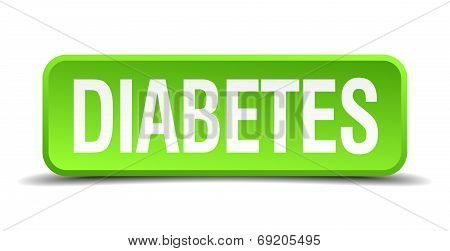 Diabetes Green 3D Realistic Square Isolated Button