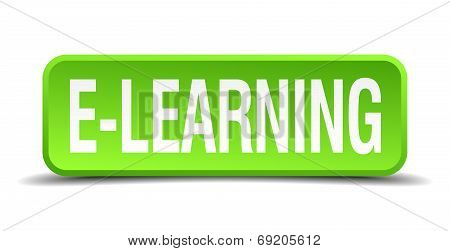 E-learning Green 3D Realistic Square Isolated Button