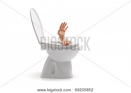Hands arising from a toilet bowl isolated on white background