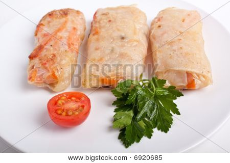 Three Spring Rolls On a Plate