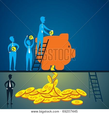 save idea in piggy bank and get money in near future concept vector