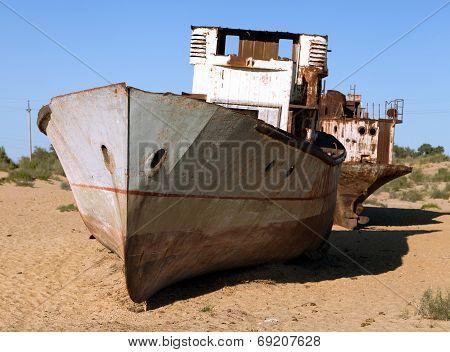 Boats In Desert Around Moynaq, Muynak Or Moynoq - Aral Sea Or Aral Lake - Uzbekistan - Asia