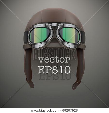 Background Of Retro Aviator Pilot Helmet With Goggles.