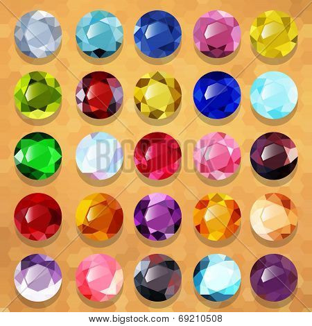Set of multicolored precious stones round